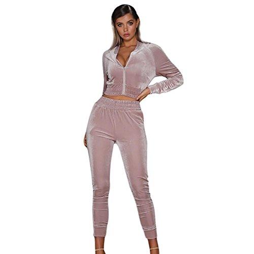 Sunward Women's Long Sleeve Casual Sport Soft Active 2 Piece Velour Full Zip Top & Pants Tracksuit Set (S, - Pink 2 Velour Pants Piece