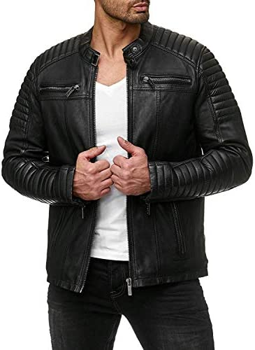COOFANDY Classic Leather Motorcycle Jacket product image