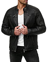 COOFANDY Men's Classic Leather Motorcycle Jacket Winter Biker Jacket