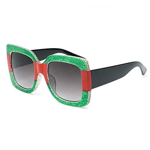 marée mode de lunettes de LUXIAO lunettes cool cadre carré couleur Six soleil 2018 tricolore de couleur luxe Nouveau de soleil cristal contrastée de IIZ7gw4q