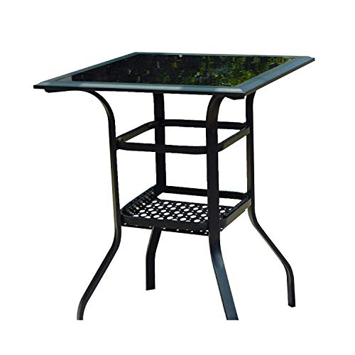 (LOKATSE HOME Outdoor Bistro Bar Patio Table 2-Tier Tempered Glass Top with Storage, Black)