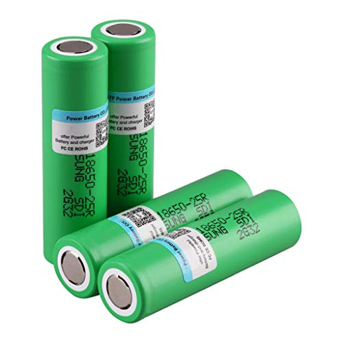 Hefu 3.7V 2500mAh INR18650-25R Lithium-ion Rechargeable Battery_Cylindrical Lithium Battery 18650 Batteries For Flashlight Cell (4PCS)