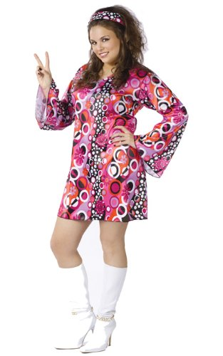 Fun World Costumes Women's Womens Feelin' Groovy Pink, Plus -