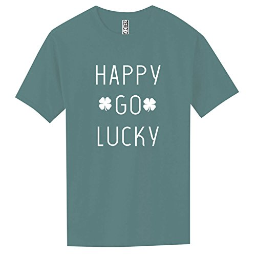 - Happy GO Lucky (with Shamrocks) Adult Pigment Dye Short Sleeve in Slate Blue - XX-Large