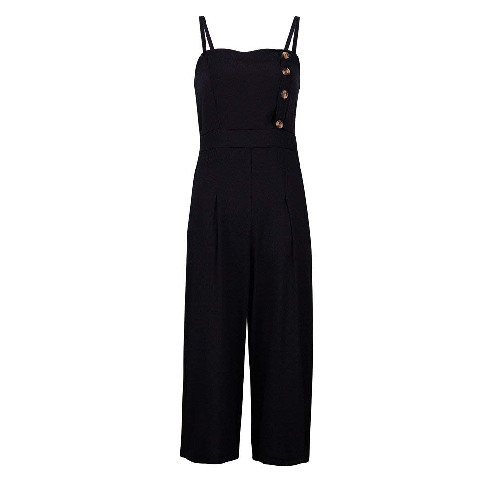 GWshop Ladies Fashion Elegant Jumpsuit Women Jumpsuits Elegant Wide Leg Sleeveless High Waisted Summer Pants Black M by GWshop (Image #4)