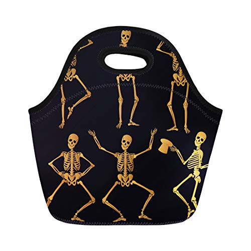 Semtomn Neoprene Lunch Tote Bag Dance Dancing Golden Skeletons Funny Skull Spine Abstract Anatomy Reusable Cooler Bags Insulated Thermal Picnic Handbag for Travel,School,Outdoors,Work]()