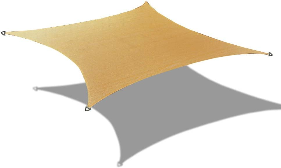 Alion Home HDPE Square Sun Shade Sail Permeable Canopy Custom (19' x 19', Walnut)