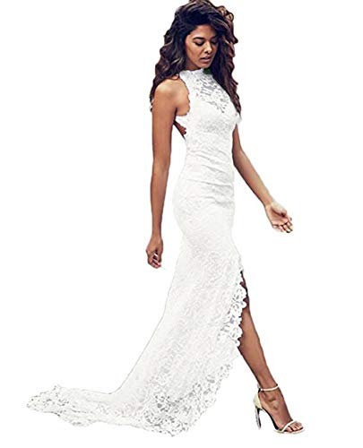 Olise Bridal Sexy Summer Beach Wedding Dresses White Lace Backless High Slit Bride Gowns For Women