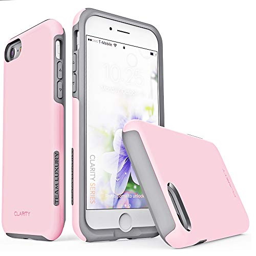 TEAM LUXURY iPhone 7 Case/iPhone 8 Case, [Clarity Series] Pink G-II Ultra Defender TPU + PC [Shock Absorbent] Premium Protective Phone Case -for Apple iPhone 7 & 8 (4.7 Inch) (Love Pink/Gray)