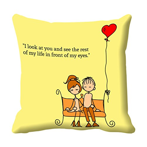 meSleep Yellow Quotes Valentine Digital Printed Cushion (With Filler)
