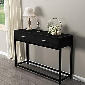 DlandHome Table Console 120 * 34 * 81cm Table d'Appoint avec 2 Tiroirs en Bois & métal Pieds pour Salon/Couloir/Entrée…