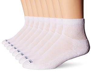 MediPEDS Men's 8 Pack Diabetic Quarter Socks with Non-Binding Top