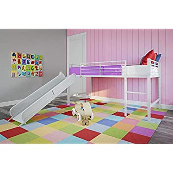 Amazon Com Dhp Junior Twin Metal Loft Bed With Slide