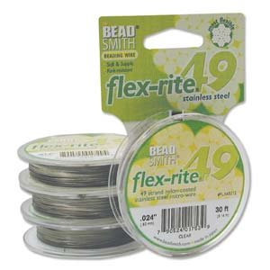 49 Strand Flex Rite Beading Stringing Wire .024 Inch 30 Feet Professional Nylon Coated Stainless Steel Extra Strong 43.8lb Break ,