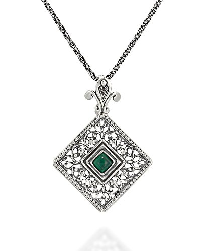Antique Style Filigree Square Green Agate Pendant with Decorative Bail 925 Sterling Silver Necklace, 20