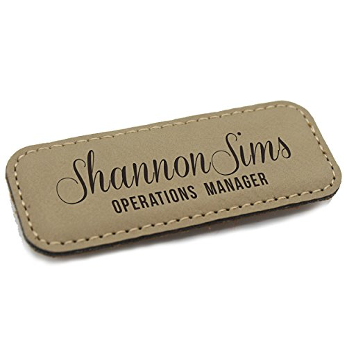 (Personalized Name Tag - Custom Engraved Employee Badges - Monogrammed Professional Name Tags (Tan))