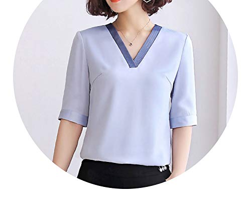 pursuit-of-self-Long Sleeve Shirts Fashion Women V Neck Shirt 2019,Blue,L -