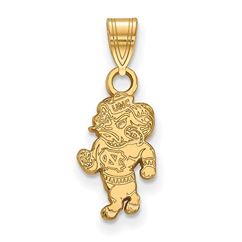 10k Yellow Gold University of North Carolina Tar Heels Rameses Mascot Pendant S - (15 mm x 8 mm)