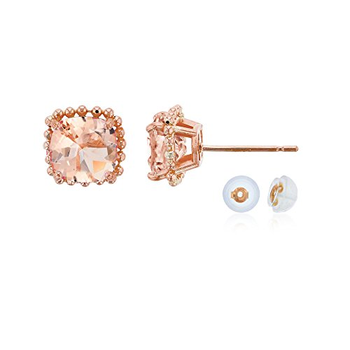 - 10K Rose Gold 6x6mm Cushion Cut Morganite Bead Frame Stud Earring with Silicone Back