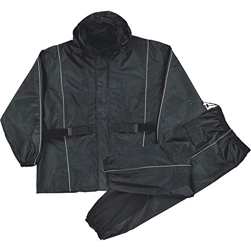 Mens Waterproof Rain Suit Reflective Piping / Heat Guard, Black Size 2XL ()