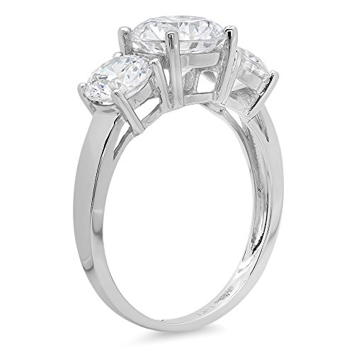 3.45 Ct Round Cut Solitaire 3 Stone Engagement Promise Wedding Bridal Anniversary Band Ring 14K White Gold, Clara Pucci