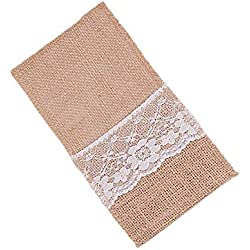 "50Pcs/lot Vintage 4""x8"" Hessian Burlap Lace Wedding Tableware Pouch Cutlery Holder Decorations Favor"