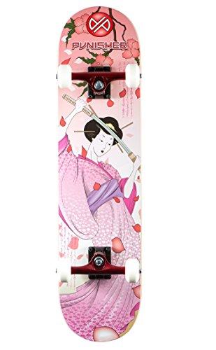 - Punisher Skateboards Samurai Complete Skateboard with Convace Deck, Pink