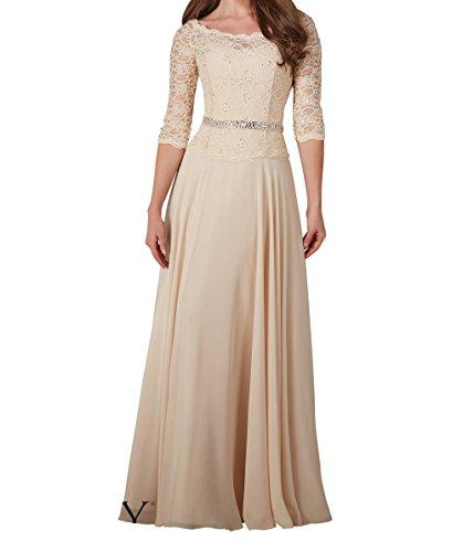 Guertel Damen Spitze Langarm Charmant Ballkleider Brautmutterkleider Lang Champagner mit Abendkleider Champagner 8AwCxqd6C