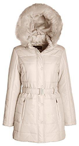 Belted Lined Coat (Sportoli Women's Longer Length Belted Winter Puffer Coat With Plush Lined Hood (Angora/M))
