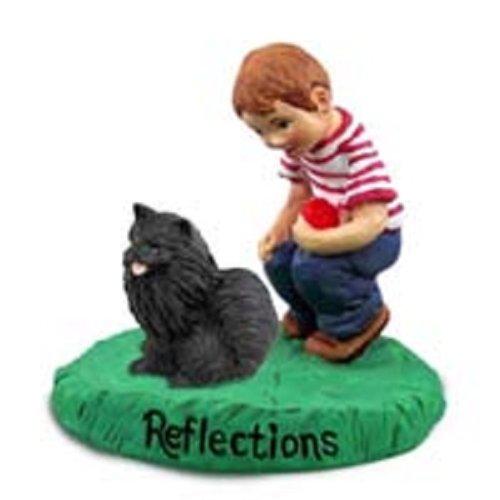 Conversation Concepts Pomeranian Black Reflections w/Boy Figurine