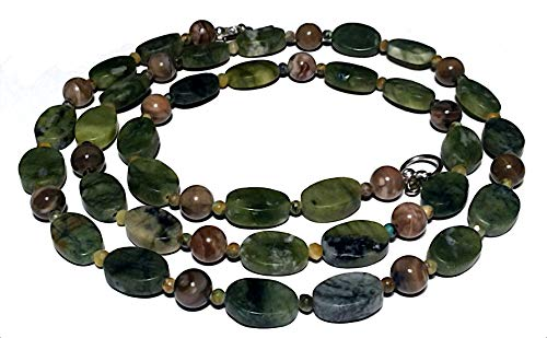 - Forest green jade serpentine petrified wood necklace; Earth color opera rope necklace; Extra long beaded gemstone necklace; Gift from Seattle; Gift from California; Handmade in Washington State;