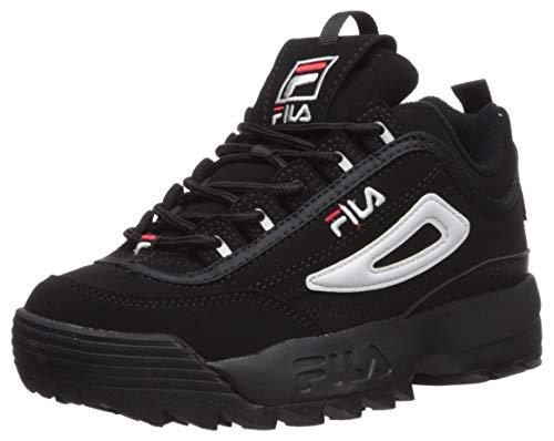 Fila Disruptor III Sneaker, Black/White/Vintage Red, 5 M US Big Kid