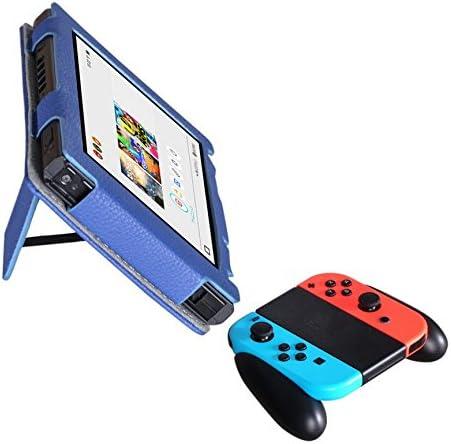 Meijunter cuero Case Cover Stand Holder Bag Sleeve funda protectora bolsa bolso caja para Nintendo Switch Console& Controller Joy-Con Color Blue: Amazon.es: Videojuegos