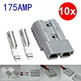 Fiaya 30Amp 50Amp 175Amp for Anderson Style Plug Connector DC Power 12-24V Exterior Solar Caravan Electrical Connector Plug (175Amp (Gray), 10 Pack)