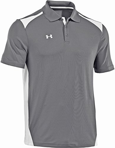Under Armour Men's Team Colorblock Polo, Graphite/White, XL