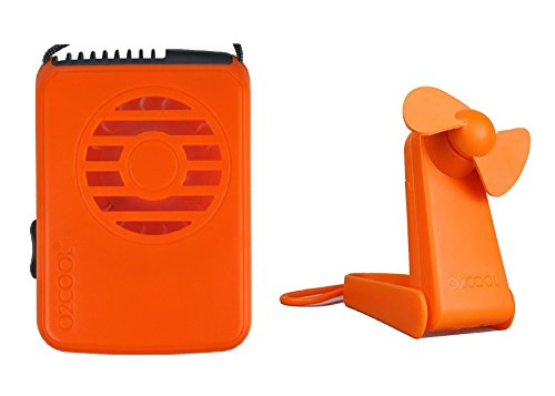 O2COOL Deluxe Necklace Fan with Hand & Stand Fan Bundle (Orange)