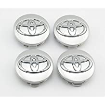 Angel Mall Toyota 57mm Outer Diameter Silver Wheel Center Hub Caps Cover 4-pc Set