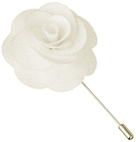 - Flairs New York Gentleman's Essentials Premium Handmade Flower Lapel Pin Boutonniere (Pack of 1 Pin, Pearl White Begonia)