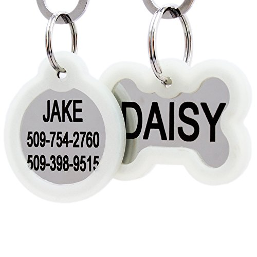 Pet Tag Stainless Steel (Personalized Dog Tags and Cat Tags in Stainless Steel, Includes Glow in the Dark Tag Silencer to Reduce Noise while Protecting Pet Tag and Engraving, Engraved on Both Front and Back)