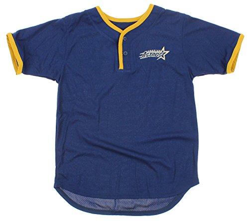 Mighty Mac Houston Astros MLB Big Boys Youth Retro 2 Button Short Sleeve Shirt, Navy (Large 16-18)