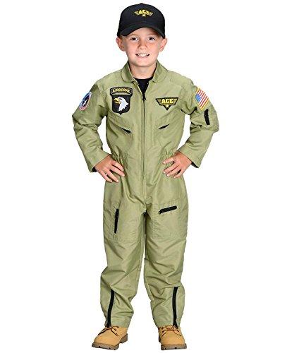 Jr. Armed Forces Pilot Suit with Helmet Costume - -