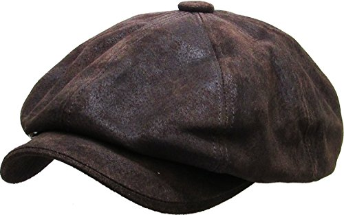 KBL-108 DBR S/M Genuine Leather Ascot Ivy Newsboy Hat -