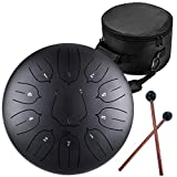 Lotus Handpan Tongue Drum 11 Notes 12 Inches Chakra Tank Drum Steel Percussion Hang Drum Instrument with Padded Travel Bag and Mallets Black