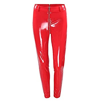 hot-selling real shop for shop for Lannmart Women Sexy Shiny PU Leather Leggings with Back ...