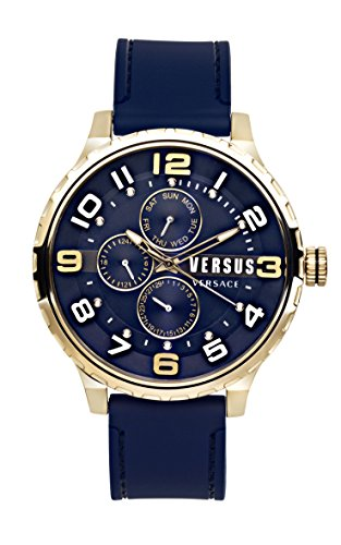 Versus by Versace Men's 'Globe' Quartz Stainless Steel and Rubber Casual Watch, Color:Blue (Model: SBA110015)