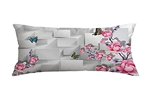 Butterfly Peony Flower Patterns Polyester Square Decorative Throw Pillow Case Cushion Cover 16 x 40 (Bench Cushion Indoor 40 Inch)