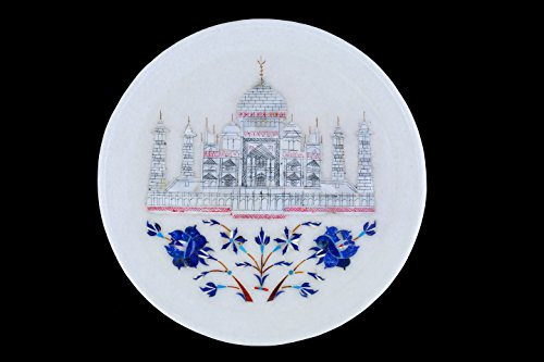 late with Taj Mahal Inlay artwork and elegant wooden stand- 8 inches. (Marble Inlay Plate)