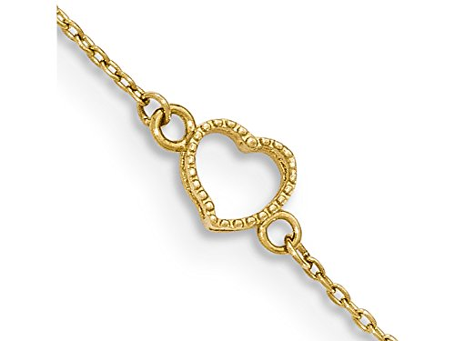 10-Inch-14k-Gold-Textured-and-Polished-Heart-W-1in-Ext-Anklet