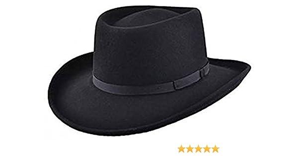 9a952d819f93b MAZ Crushable Wool Felt Gambler Hat - Black at Amazon Men s Clothing store