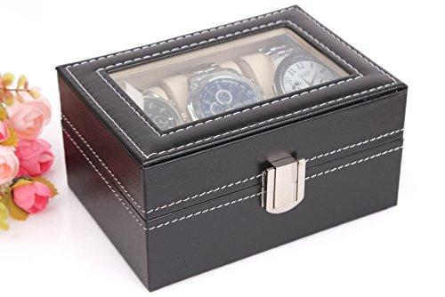 MyBeautyworld24 Uhrenkasten Uhrenbox Uhrenkoffer Aufbewahrung Aufbewahrungsbox Uhrenschatulle für 3 Uhren -